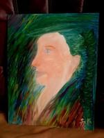"""Kata Szabo:""""portrait-female face"""" in renaissance style, oil painting, wood fiber, 45 x 35 cm, signed"""