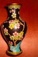 15 cm Cloissoné   zománc, rekesz  zománc váza