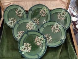 6 db Eichwald majolika tányér