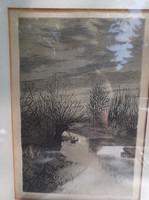 Kép - tusrajz - JELZETT - régi - Osztrák - kép 33 x 26 cm   rajz 19 x 12 cm - hibátlan
