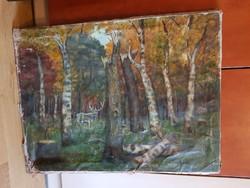 Erdőbelső szarvassal, szignós olajfestmény, vászon, viseltes, de ráfeszíthető a vakrámára...60x80