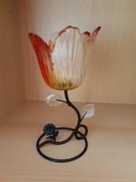 Üveg fém mécsestartó virág alakú