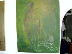 Grossova Galamb Erzsébet nagyméretű festmény /80x100/..A kutyás járőr-1985