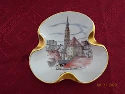 Leidl Branuau porcelán, kézzel festett hamutál, Braunau am inn felirattal.
