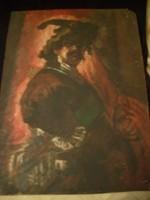 E 10 Rembrandt önarckép élénk sz.olaj festmény 46x34cm