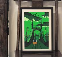 Villamos kúszik a Fővám térre - művésznyomat