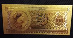24 kt arany száz forintos bankjegy exclusív ajándék