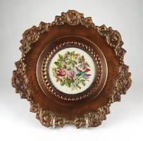 1B449 Barokkos gobelin díszes bronz falidísz tál 31.5 cm