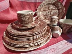 16 db- os porcelán barna jelenetes angol készlet