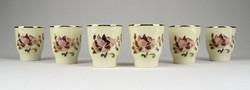 1B475 Zsolnay vajszínű porcelán 6 darabos pálinkás készlet