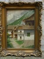 Eladó Jaschik Álmos: Felvidéki házak olaj, karton festménye