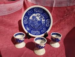 3 db. Rusticana jelenetes porcelán tojás tartó, és 1 sütis tányér
