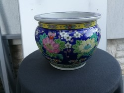 Gyönyörű kézzel festett kaspó, porcelán madaras, fácán. Virágkaspó! Dekoratív!