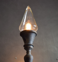 Hatalmas faragott fa állólámpa vintage, loft, modern lakberendezéshez