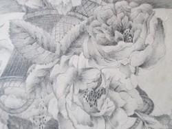 """19. századi ceruzarajz, virágcsendélet """"Ragályi . '878"""" szignóval"""
