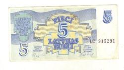 5 rubel rubli 1992 Lettország 5.