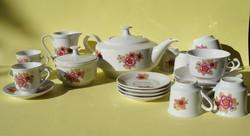 Retro Kahla kávés teás készlet stilizált virág mintás igazi 70-es évek hangulata vidám retro színek