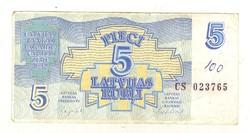 5 rubel rubli 1992 Lettország 1.