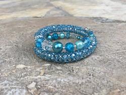 Türkiz kék és ezüst duplasoros memória gyöngy karkötő