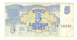 5 rubel rubli 1992 Lettország 2.