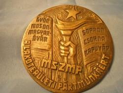 MSZMP ,nagy gyűjtői bronz plakett ritkaság 9.5 cm /5/