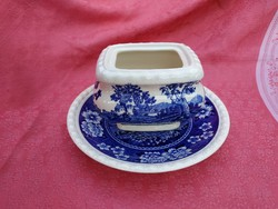 Rusticana jelenetes porcelán cukortartó kistányérral