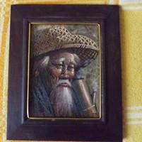Kínai férfi portré olajfestmény