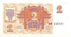 2 rubel rubli 1992 Lettország 2. UNC