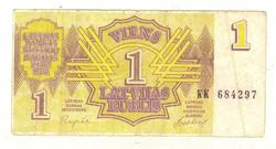 1 rubel rublis 1992 Lettország 1.