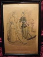 Divatdámák  II. viselettörténet litográfia 1892, olasz öltözet, ruha, divat.