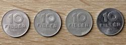 10 Fillér 1987; 1988; 1986; 1990 BP.
