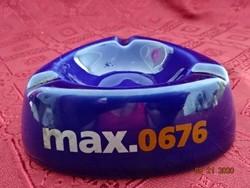 Kobalt kék német porcelán hamutál, max. 0676 felirattal.Átmérője 10 cm.