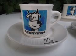 Porcelán - 12 db COWITITUDE - ÚJ - Spanyol - kávéskészlet - KICSI - NORMÁL CSÉSZE - csészealj 12 cm