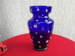 100 éves, Parádi üveg, szignált(Parád) kobaltkék üveg virágokkal, csodálatos! Magyar üvegművészet