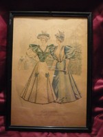Divatdámák  I. viselettörténet litográfia 1894, olasz öltözet, ruha, divat.