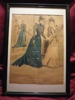 Divatdámák  III. viselettörténet litográfia 1891, olasz öltözet, ruha, divat.