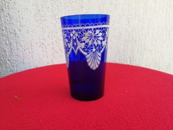Parád, Parádi, Parádfürdő üveg pohár, kobaltkék fehér festéssel! Mint a csipke, Magyar üvegművészet!