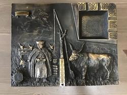 Régi Iparművészeti tömör bronz asztali dísz Hortobágyi jelenettel
