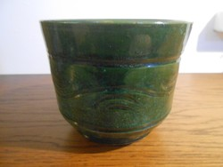 Kaspó virágtartó kerámia zöld mázas 11*13 cm