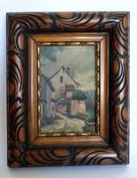 Antik miniatűr olajfestmény dekoratív faragott fa keretben/szignózott/
