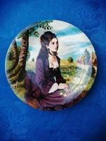 Szinyei M.P.Lilaruhás nő kézzel festett egyedi művészi olajfestménnyel Gránit falitányér  24 cm (ap)