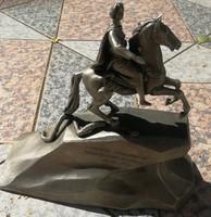 Orosz lovas szobor, 1 Péter Cár Katalin, kígyó. Harcos lovas katona kard. Szignált jelzett!