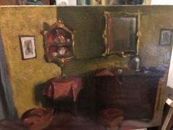 Szigethy István  szoba belső, olaj- vászon
