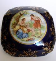Alt wien jelenetes kobaltkék -arany díszes porcelán bonbonier ,ékszerdoboz dísztárgy
