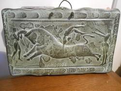 Falikép kerámia jelenetes görög Cnossos Knósszosz 23*15*1 cm