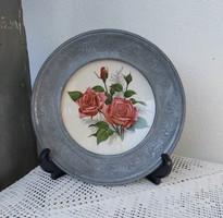 Gyönyörű német rózsás ,virágos  ón keretes  falitányér ,  Gyűjtői szépség