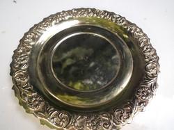 Fém - ezüstözött - NAGY - 15 cm - vastag - nehéz - csészealj - gyönyörű