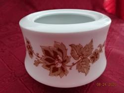 Alföldi porcelán, barna levélmintás cukortartó, tető nélkül.