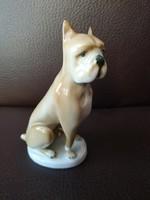 Zsolnay kézzel festett boxer kutya, hibátlan