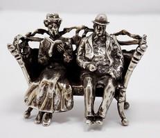 Ezüst Padon ülő pár miniatűr (ZAL-R66917)